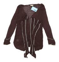Soon Womens Size L Brown Metallic Cardigan (Regular)