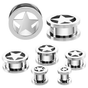 3mm Surgical Steel Ear Tunnel / Plug + Star Design ~ Stretched Piercing