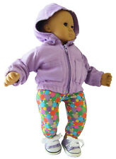 For Bitty Baby Doll Clothes 3 PC Lavender Hoodie & Sneakers + Leggings