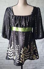 John Paul Richard M Stunning Green Black Floral SATIN Long blouse 3/4 sleeves