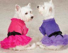 Zack & Zoey Vibrant Party Dress Dog Pet tulle skirt pink purple velvet bow