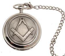 Solid Pewter Fronted Mechanical Skeleton Pocket Watch - Masonic Design 37
