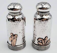 Antique 1886 Gorham Hammered Sterling + Other Metals Salt & Pepper Shakers 81.7g