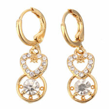 Pretty New 14K Yellow Gold Filled Clear CZ Heart & Circle Dangle Drop Earrings
