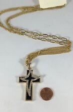 NEW Black Enamel & Rhinestone Double Cross Pendant Golden Chain Necklace #A76