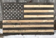 """Reclaimed pallet american flag hanging wall art 42"""" wide x 26"""" tall natural"""
