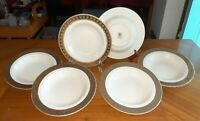 SET OF SIX BAUM BROS.'PLATINUM WITH GOLD' PORCELAIN SOUP BOWLS BY THUN CARLSBAD