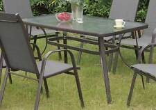 NEW Stylish Patio Outdoor Garden Yard Dining Table Frosted Glass Top Steel Frame