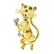 Vintage FINE 18k Gold Ruby Emerald Rat or Mouse Holding Diamond Bone Pin Brooch