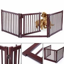 Wood Pet Dog 3 Panel Configurable Folding Free Standing Safety Fence w/ Gate 24