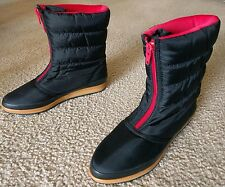 Women's Sporto Black/Red Slip Pull On Ankle Mid Rain Snow Winter Boots 6