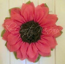 Large Light Pink/Spring Pink Trendy Burlap Sunflower Wreath Door Hanger