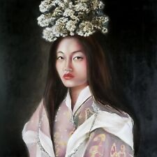 Original Oil Painting of Beautiful Woman from Bhutan Asian Ethnic World Culture