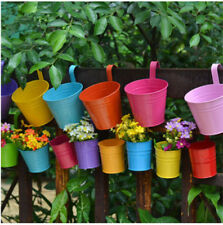 20pcs Flower Pot Hanging Balcony Garden Plant Metal Iron Planter Home Decor AU