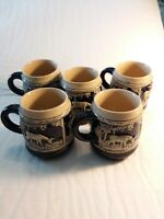 Vintage German Wekara pottery set of 5 mugs all marked 5368