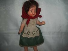 Vintage 1940's Irish Colleen DOLL WITH ORIGINAL DRESS & Glass Eyes 12""