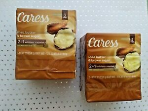 Caress Bar Soap Shea Butter & Brown Sugar (Lot of 6) Exfoliate & Nourish