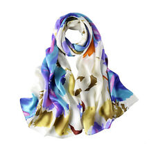 Long Silk Satin Scarf Blue and White Abstract Print LZD021