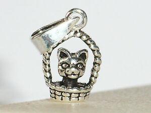 Silber Anhänger kleine Katze im Körbchen, massiv und stabil, mit oder ohne Kette