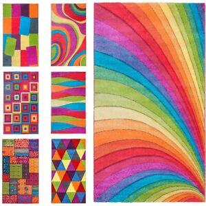 Large Rainbow Rug 120 x 170 MultiColour Bright Vivid Design Children's Room