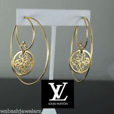 $9,700 Louis Vuitton 18K Solid Yellow Gold Filigree Flower Large Hoop Earrings