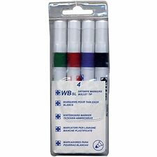 4 Pack Whiteboard Dry wipe Marker Pens Bullet Tip Non-Toxic Ink Assorted Colours