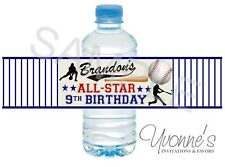 Baseball Water Bottle Wrappers - Birthday Party Favors - Set of 12