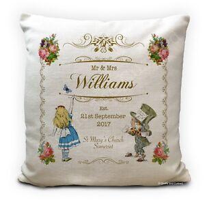"Personalised ALICE IN WONDERLAND Wedding Gift Vintage Style Cushion Cover 16"""