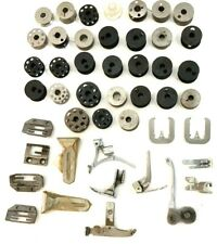 Vintage Singer Sewing Machine Machined Bobbins Foot Pedals Lot