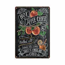 Metal Tin Sign hot apple cider Decor Bar Pub Vintage Retro Cafe ART