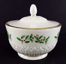 """LENOX China Holiday Dimension Sculptured Candy Jar with Lid 3-3/8"""" Dinnerware"""