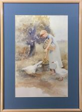 """Pencil Signed Print of Watercolor by Judy Buswell: """"Barefoot with the Geese"""""""