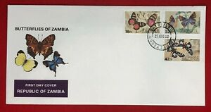 ZAYIX -1978 Zambia 220-222 First Day Cover - FDC - Insects - Butterflies