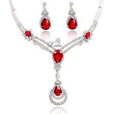 Fashion Red Zircon Necklace Earrings Set Crystal Silver Plated Jewelry Sets