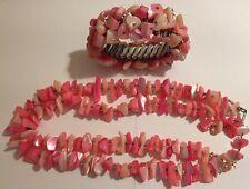 Vintage 50s Pink Glass Bead Stretch ChaCha Bracelet & Necklace Set Japan