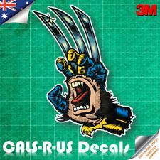 Marvel Santa Cruz Screaming Hand - Wolverine Skateboard Luggage Sticker 3M 100mm