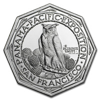 2 oz .999 FINE Silver High Relief Octagonal Panama-Pacific IN STOCK