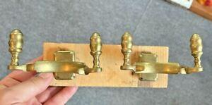 2 Antique Brass Double Sided JAMB Hook Tool Holder Holders Hooks