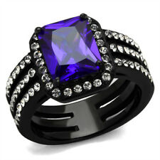 Simulated Tanzanite Solitaire with Accents Costume Rings