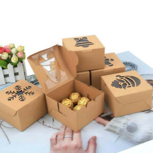 10Pcs Christmas Party Wedding Favor Kraft Paper Cookie Candy Gift Boxes Foldable