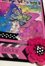 Handmade By Kathie Gift Card - Happy Birthday - Flowers 3D Butterfly Butterflies