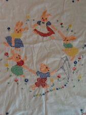 Vintage Crib Cover ~ Bunny Rabbits Dancing And Bear Flying Kite