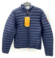 Save The Duck Mens M Navy Blue Giga Down Ultralight Puffer Hooded Jacket