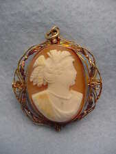 Vintage 10KT. Gold Shell Cameo Pin/Necklace Beautiful