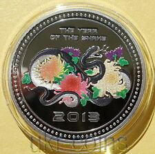 2013 Cook Islands 1 Oz Silver Lunar Year of the Snake Happy Proof Color Coin $5