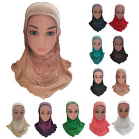 Muslim Kids Girls Amira Hijab Islamic Head Cover Shawl Scarf Arab One Piece Hat