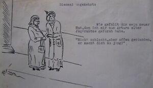 HERMIA VON MALTZAHN GERMAN INK COMIC LADIES WITH HATS C 1930 A