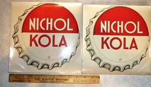 (2) Vintage 'Bottle Cap' NICHOL KOLA Soda Pop Advertising Water Decals. Signs.