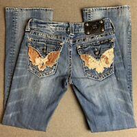 Women Miss Me Boot Cut Denim Jeans Size 27X30 Cow hair hide on pockets
