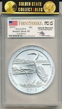 2015 P ATB 5 OZ BOMBAY HOOK PCGS SP70 FIRST STRIKE MERCANTI SIGNED LABEL